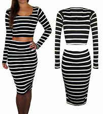 Womens Ladies Co Ord Set 2 Piece Top And Midi Long Skirt Striped Size 8 10 12 14