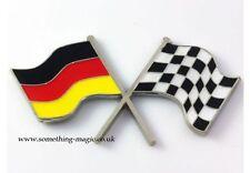 Bandera Alemana Cromo Esmalte & Bandera a Cuadros Cruce De Placa De Coche Placa VW Alemania