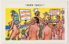 SAUCY POSTCARD - seaside comic, nudist camp sexy woman strike tools FLIP #C4748