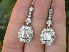 Beautiful Art Deco Emerald Baguette Dangle Earrings 925 Sterling Silver Solid