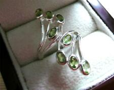 OVAL GREEN PERIDOT 925 STERLING SILVER LONG RING SIZE R US SIZE 9