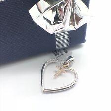 14k White Gold Natural Diamond Heart with Rose Gold Cross Pendant