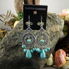 Fun & Flirty New Tibetan Silver Turquoise Bead Chandelier Dangle Drop Earrings