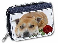 Red Staffie with Rose Girls/Ladies Denim Purse Wallet Christmas Gift, AD-SBT3RJW