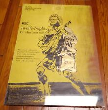 Original 1971 Royal Shakespeare Theater 112th Season TWELFTH NIGHT Color Poster