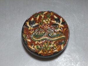 CH0614 China Tang Sancai Porcelain engraving Swan flower Inkpad box Rouge box
