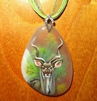 Greater Kudu pendant Genuine hand painted STONE signed Gorbachova Unique GIFT