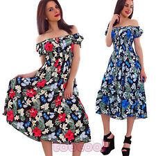 Vestito donna abito longuette ginocchio floreale scollo carmen gitana nuovo 0215