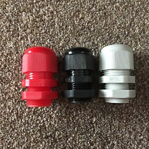 M20 IP68 Nylon Dome Cable Glands & Locknuts Red-Black-Grey