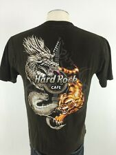 Hard Rock Cafe Hong Kong T Shirt M Medium Brown Short Sleeve Guitar Dragon Tiger