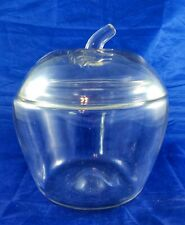 Vintage Anchor Hocking Clear Glass Apple Cookie Jar Shaped Canister Jar w Lid
