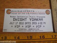 Dwight Yoakam concert ticket 2010 Sanlinas Ca