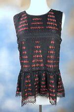 NEW $88 STUDIO M gorgeous black lace peplum red sexy blouse top shirt SZ: XS