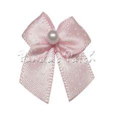 Polka Dot Satin Ribbon Bows with Single Pearl Choose Colour & Pack Size Free P&P