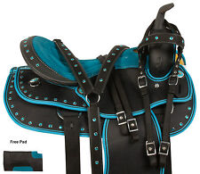 ARABIAN 16 17 TEAL BLACK WESTERN PLEASURE TRAIL HORSE SYNTHETIC SADDLE TACK