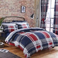 Polycotton Check Design Reversible Duvet Set or Curtains in Red White & Blue