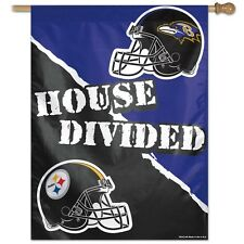 """PITTSBURGH STEELERS BALTIMORE RAVENS HOUSE DIVIDED 27""""X37"""" BANNER FLAG WINCRAFT"""