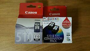 3x Canon Genuine ink Cartridges 2x PG510 PG 510 1x CL511 MP240 MP480 MX320MP250