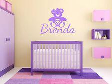 "Teddy Bear Name Monogram Girls Bedroom Vinyl Wall Decal Graphics Bedroom 28""Tall"