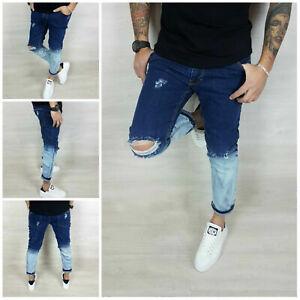 Jeans Pantalone Uomo Denim Sfumato Bicolore Italy Strappi 42,44,46,48,50 Zero81