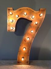 "24"" Vintage Marquee Light Number 7  (rustic)  24"" Free Shipping"