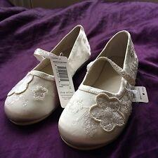 BNWT M&S Niñas Ivory Crema Con Cuentas Balerinas Zapatos Talla 11 Nupcial Nuevo Marks & Spencer