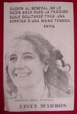 """Argentina Eva Peron Evita Paper Poster Telefonica 13 1/4"""" x 8 1/2"""" Aprox"""