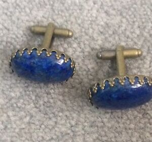 VINTAGE  BRONZE LAPIS LAZULI   CUFF LINKS   IN FITTED CASE 18 X 25 MM