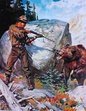 Hunter Bear encounter by Phillip Goodwin vintage art