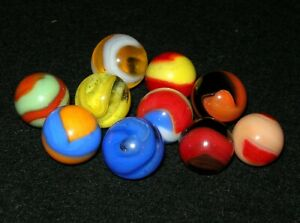 Vintage Akro Agate Co. Corkscrew Marble Grouping (10)