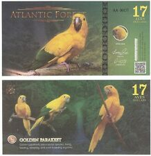 Atlantic Forest 17 Aves Dollars 2016 NEW Fantasy Banknote - Golden Parakeet