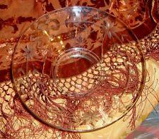 Vintage Floral Etched Clear Depression Glass Bowl