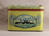 Vintage Oceanic Cut Plug Union Made Tin Detroit Michigan Fish Steamship Graphics