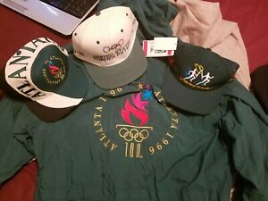 Lot 3 vtg 1996 Atlanta USA Olympic Games  Logo Athletic Jacket medium 3 hats