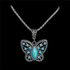 UK BOHO BUTTERFLY CRYSTAL PENDANT NECKLACE Tibetan Silver Turquoise Jewellery