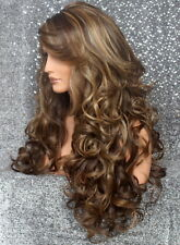 Full Heat OK Curly Long Wig Brown mix Bangs Layered Hair Piece 8-27-613 NWT WBBT