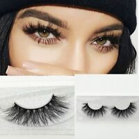 100% Real Natural Cross Long 3D Mink Fur Eye Lashes Extension False Eyelashes