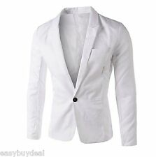Mens Blazer Coat Jacket One Button Smart Slim Fit Blazers Casual Suit Outerwear