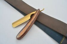 Razor Edge Cut Throat Straight Razor &  Tanned Leather Strop / Barber Sharpening