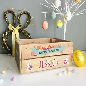 Personalised Easter Bunny Rabbit & Flowers Crate, Easter Egg Box Gift For GIRL