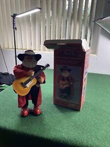 "Christmas Animated Hip Swinging 16"" Cowboy Western Santa Claus w/ Guitar"