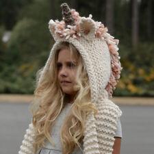 Unicorn Winter Warm Hat Hooded Scarf Earflap Knitted Knit Cap Kids Girls Boys