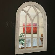 Large White WINDOW STYLE WALL HALLWAY Arched Rustic Vintage WINDOW MIRROR 76x51