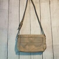Vintage SAS Women's Gray Leather Shoulder Bag EUC