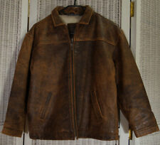FITIGUESO Vintage Distressed Brown Leather Bomber Jacket Kids' XL, Women's XS-S