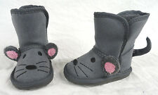 GARANIMALS, INFANT GIRLS GRAY MOUSE FAUX SUEDE SHERPA SLIP-ON BOOTS SIZE 2, NEW