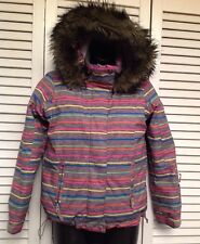 ROXY Girl's 10 Gray Multi Striped Snow Ski Winter Jacket Fur Hood Retail $140