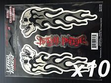 x10  Lethal/Threat Flaming Skull Chrome Domed Body Decal Set Emblem Logo Sticker
