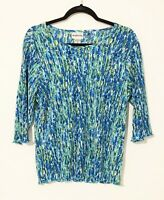 Bon Worth Women's Multicolor Bright  Green / Blue / White 3/4 sleeve shirt MP