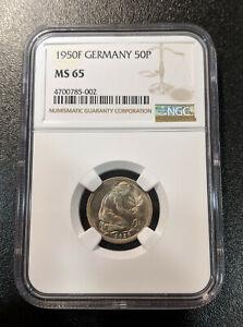 1950 F Germany 50 Pfennig KM 109.1 Deutschland Federal Republic top pop 3/0